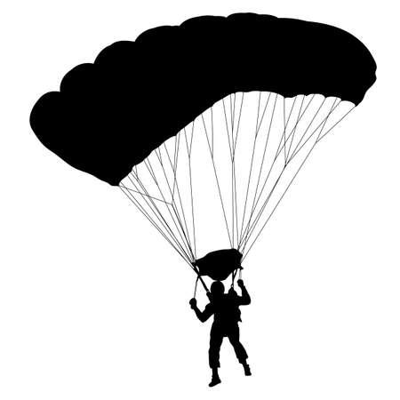 Skydiver, silhouettes parachuting. Ilustração Vetorial