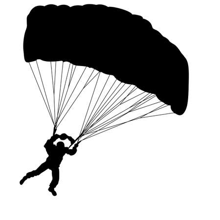 Skydiver, silhouettes.