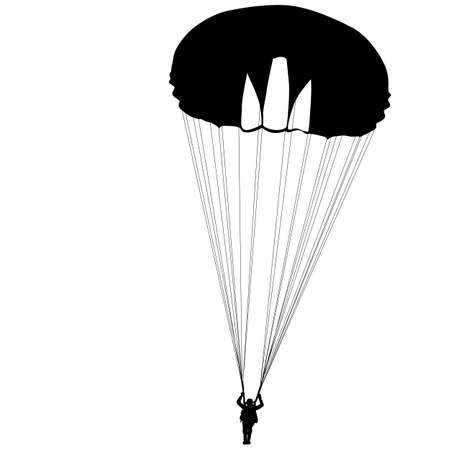 airplay: Skydiver, silhouettes parachuting on a white background. Illustration