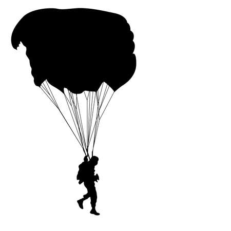 Skydiver, silhouettes parachuting.