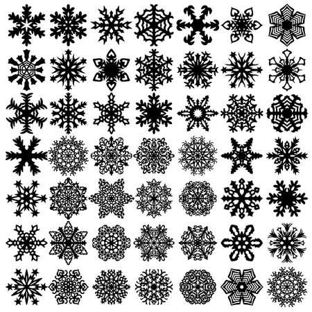Sneeuwvlokken pictogrammen instellen op witte achtergrond, vectorillustratie