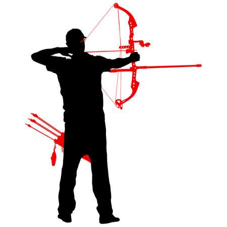 ●弓を曲げてターゲットを目指すシルエット魅力的な男性射手。
