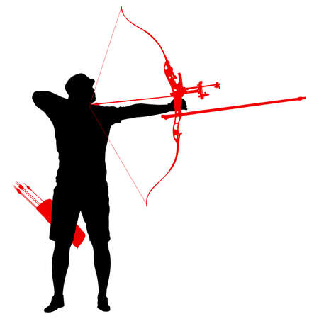 Silhouette attractive male archer bending a bow and aiming in the target.