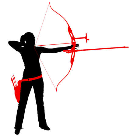 Silhouette attractive female archer bending a bow and aiming in the target.