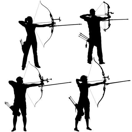 Silhouette set attractive male and female archer bending a bow and aiming in the target.
