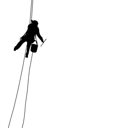 Silhouette of industrial climber washes windows on a white background.