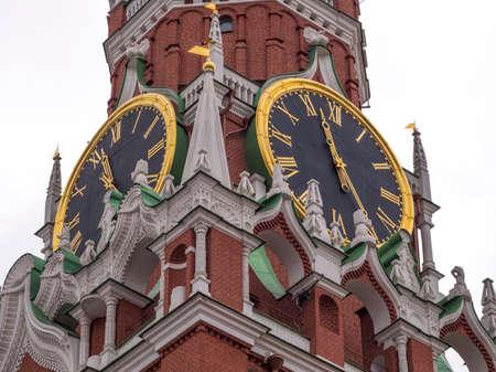 Moscow Kremlin Main Clock named Kuranti on Spasskaya Tower 12 hours . Red Square. Editorial