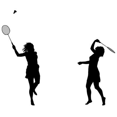 Silhouettes of female badminton player