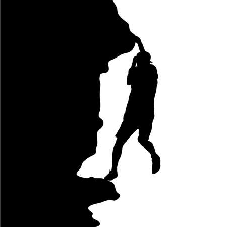 Silhouette of rock climber