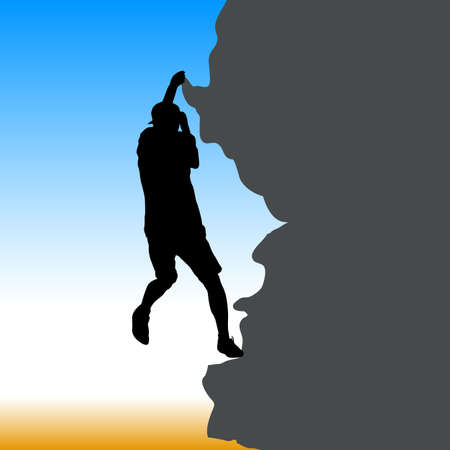 Black silhouette rock climber on against the blue sky.