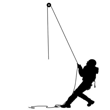 Black silhouette craftsman pulling rope on white background.