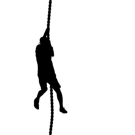 Black silhouette Mountain climber climbing a tightrope up on hands. Ilustracja