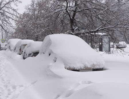 Vehicles covered with snow in the winter blizzard in the parking. Stock Photo