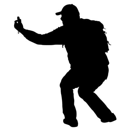 Silhouettes man taking selfie with smartphone on white background. Illustration