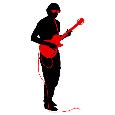 Silhouette musician plays the guitar on a white background. Illustration