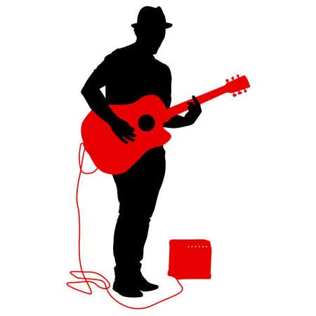 Muzyk sylwetka gra na gitarze na białym tle. Ilustracje wektorowe