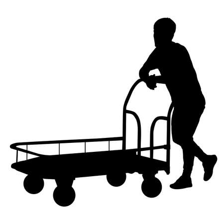 Black silhouette hard worker pushing wheelbarrow and carry big box isolated on white background. Ilustração