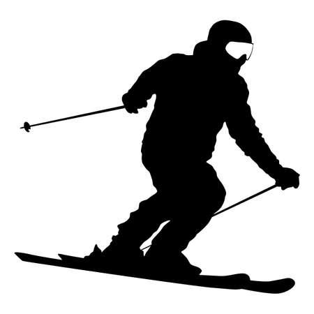 Mountain skier speeding down slope sport silhouette. Vettoriali
