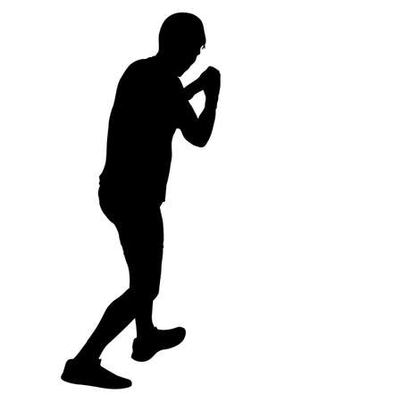 Black silhouette of an athlete boxer on a white background.