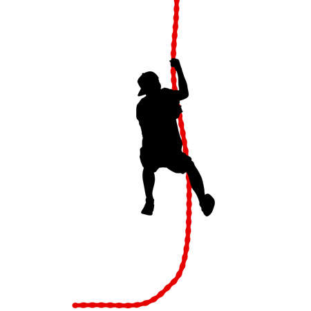 Black silhouette Mountain climber climbing a tightrope up on hands. Illustration