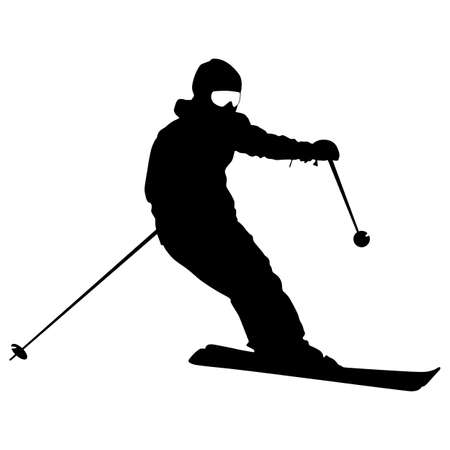 Mountain skier speeding down slope sport silhouette. 矢量图像