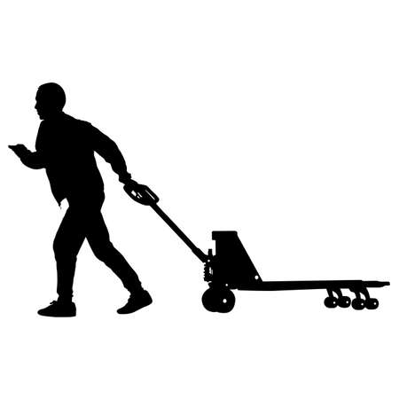 Black silhouette hard worker pushing wheelbarrow and carry big box isolated on white background. Vectores