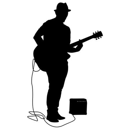 Silhouette musician plays the guitar on a white background. Stock Illustratie