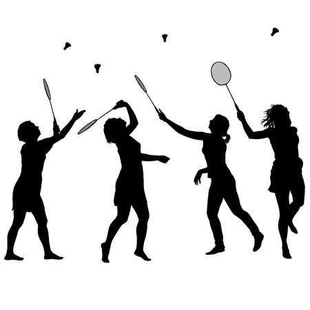 noir silhouette ensemble de joueur de badminton féminin sur fond blanc