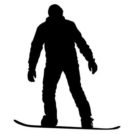 Black silhouettes snowboarders on white background illustration. Illustration