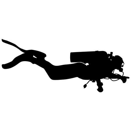 Black silhouette scuba divers on a white background. Illustration