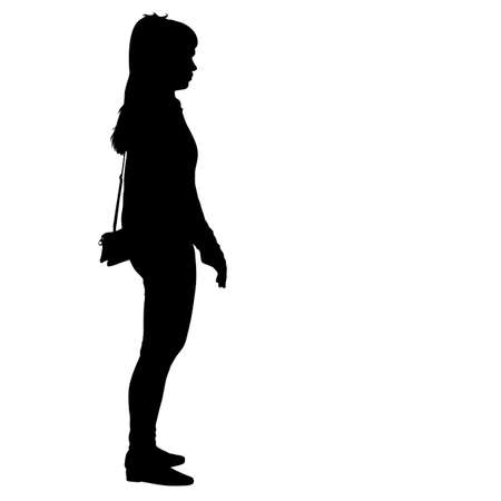 Black silhouette woman standing, people on white background. Illustration