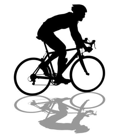 Silhouette d & # 39 ; un cycliste mâle sur fond blanc. Banque d'images - 97070314