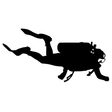 Black silhouette scuba divers on a white background. Illustration