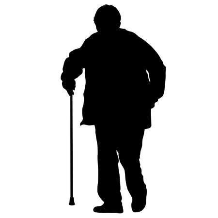 Silhouette of disabled people on a white background.