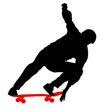 Black silhouette of a skateboarder vector illustration Illustration