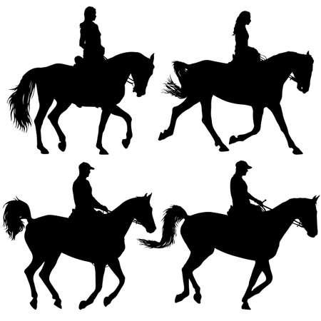 Set of horse and jockey silhouette vector illustration Illustration