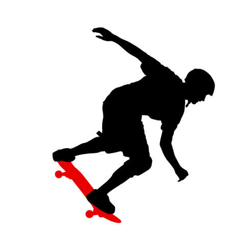 Black silhouette of a skateboarder vector illustration Vectores