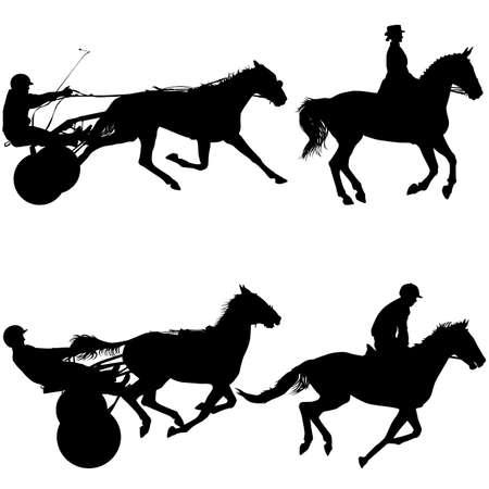 Set black silhouette of horse and jockey.