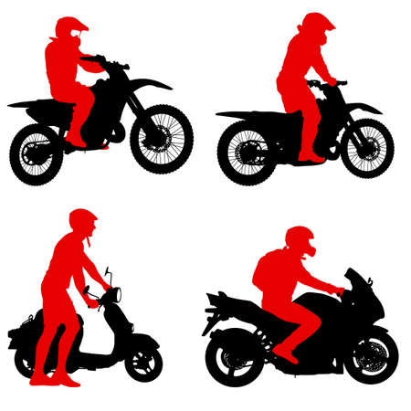 Set silhouettes Rider participates motocross championship on white background. Illustration