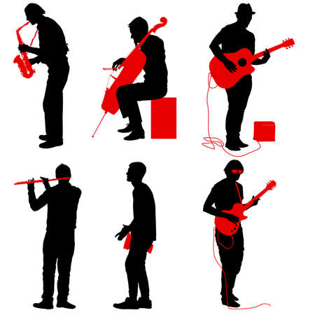 Silhouettes street musicians playing instruments on a white background. Stock Illustratie