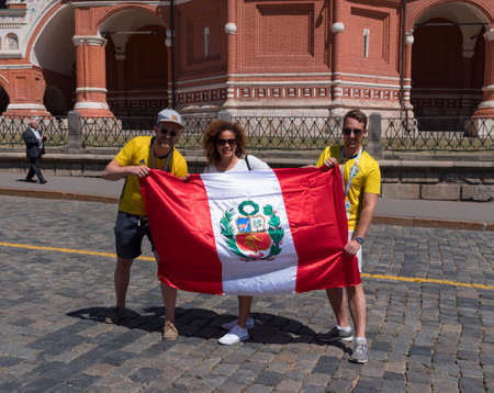 MOSCOW - JUNE 20, 2018: Soccer World Cup Fanatics of Peru with flags with their typical costumes in the streets June 20, 2018 in Moscow, Russia.