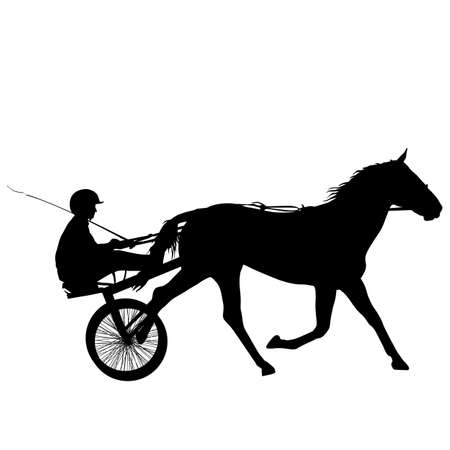 The black silhouette of horse and jockey.