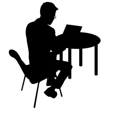 Black silhouette man sitting behind computer, on a white background.