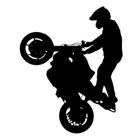Schattenbild-Mitfahrer nimmt an Motocrossmeisterschaft auf weißem Hintergrund teil.