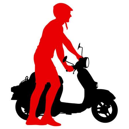 Silhouettes Rider participates motocross championship on white background. Stock Illustratie