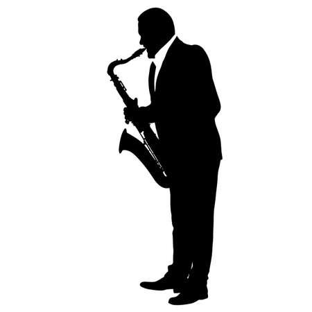 Siluetta del musicista che gioca il sassofono su una priorità bassa bianca.