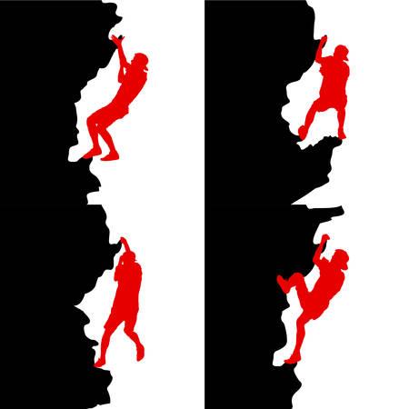 Black set silhouette rock climber on white background.