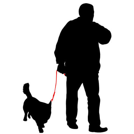 Silhouette of man and dog on a white background. 矢量图像