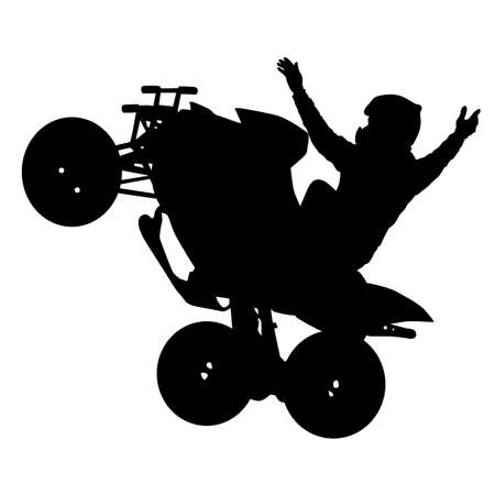 Silhouette of the motorcyclist on a quad bike, on a white background.
