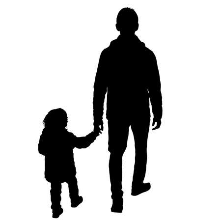 Silhouette of happy family on a white background. Illustration